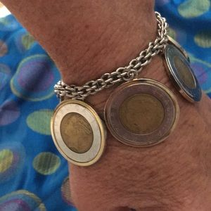 Jewelry - Sterling silver and Italian 500L coins bracelet